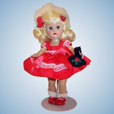 Vogue 1950's Molded Lash Ginny Doll; Christmas Red & Valentine's Day Dress, Shoes, Hat!
