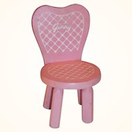 Original Vogue Ginny Doll Pink Boudoir Wooden Chair