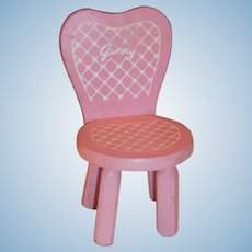 Original Vogue Ginny Doll Pink Boudoir Wooden Chair