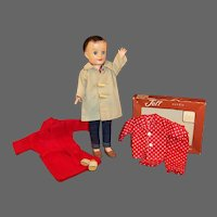 1950's Vogue Fashion Doll Jeff; Boxed Pajamas, Robe, Car Coat, Jeans, Shirt & more...