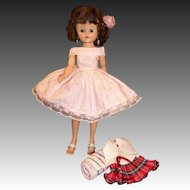 Lovely! 1950's Vogue Jill Doll Swimsuit, Glasses, Towel, Pink Dress, Slip, Shoes and more