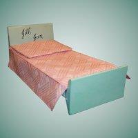 1950's Vogue Jill Jan Strombecker Doll Bed; Mattress, Bedspread, Pillow, & Sham