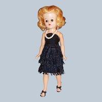 1950's Vogue Jill Bent Knee Walker Doll w/ Black Sheath Fringe Dance Dress
