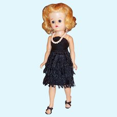 1950's Vogue Jill Bent Knee Walker Doll w/ Black Sheath Fringe Dance Dress