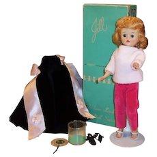 Vogue 1950's Blonde Jill Doll; Box, Black Velvet Gown & Shawl, Rose Velvet Pants & Sweater and more....