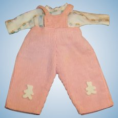 """1950's Vogue 8"""" Ginnette Baby Doll Corduroy Overalls & Jersey Shirt (# 7715)"""