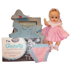 Excellent! 1950's Vogue Ginnette Doll with Dress, Coat, 2 Bonnets, Clothing Box, Shoes, Socks, and more...
