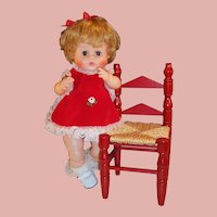 "16"" Vintage Vogue Ginny Baby Doll; Red Dress & Wooden Chair"
