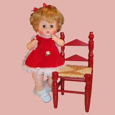 """16"""" Vintage Vogue Ginny Baby Doll; Red Dress & Wooden Chair"""