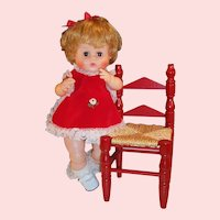 "So Pretty! 16"" Vintage Vogue Ginny Baby Doll & Wooden Chair"