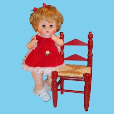 """So Pretty! 16"""" Vintage Vogue Ginny Baby Doll & Wooden Chair"""