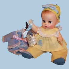 Excellent! 1950's Vogue Ginnette Doll; HTF Yellow Bonnet & Play Suit,  Blue Sacque (First Outfit), Bottle & more...