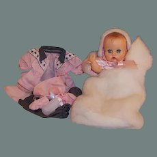 Vogue Ginnette Baby Doll with Working Squeaker!: Bunting & Bonnet, Snowsuit, Butterfly Dress, & more
