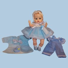 1950's Vogue Ginnette Baby Doll Beautiful in Blue Party Dress & Bonnet, Overalls, Robe & more