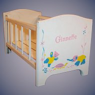 1950's Vogue Ginnette Doll Drop Side Wooden Crib #7787