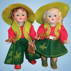 Vogue Ginny Cowboy and Cowgirl Transitional Dolls