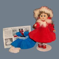 Vogue Ginny Doll SLW; Kinder Crowd Blue Dress,  Christmas Red Dress, Fur Trimmed Coat & Hat and more....