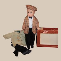 1950's Vogue Jeff  Doll: Car Coat, Tweed Ivy League Cap, Sport's Jacket & Box, and much more...