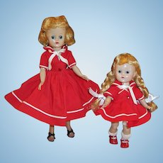 1950's Vogue Dolls Ginny and Jill in Matching Red Sailor Dresses