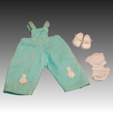 Vintage 1956 Vogue Ginnette Corduroy Bunny Overalls #6503 and Shoes