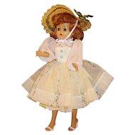 1950's Vogue Jill Walker Doll w/ Yellow Taffeta Dress, Hankie, Straw Hat, Peignoir Set, Shoes, Undies