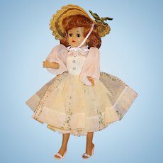 1950's Vogue Jill Walker Doll w/ Yellow Taffeta Dress, Hankie, Straw Hat, Peignoir Set, Shoes, Undies