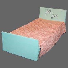 1950's Vogue Jill Jan Strombecker Doll Bed; Mattress, Bedspread, & Sheet Set