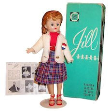 Vogue 1950's Pony Tail Jill Doll --  Bent Knee Walker, Clothing, & Box