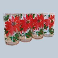 Set of 4:  10 oz. Hazel Atlas Poinsettia Christmas Tumblers