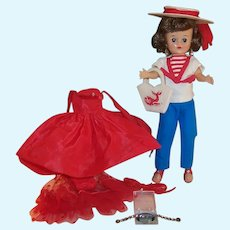 Excellent 1950's Vogue Jill Doll:  Nautical Outfit #3133,  Red Taffeta Gown Outfit #7511, and more....
