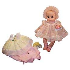 Vogue 1957 Ginnette Doll Baby; 2 Dresses, 1 Bonnet, 2 Prs. Socks, 2 Prs. Shoes, Sleeper, Bottle