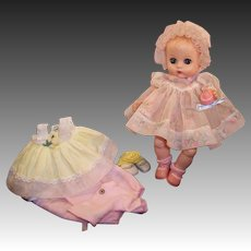 Vogue 1957 Ginnette Doll Baby; 2 Dresses, 1 Bonnet, 2 Prs. Socks, 2 Prs. Shoes, Sleeper, Bottle