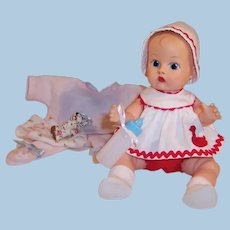 1950's Vogue Ginnette Painted Eye Baby Doll: Duck Romper, Pajamas, Shoes and more...