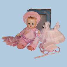 1950'S VOGUE Ginnette Baby Doll:  Working Squeaker, Party Dress, Bonnet & Box,  Overalls Outfit, Sleep Sacque, and much more...