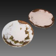 Two Victorian Milk Glass Convex / Concave Panels (for DIY crafting or painting)