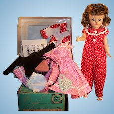 1950's Vogue Jill Bent Knee Walker Doll w/ Pink Dress, Red White Pajamas, Robe, Leotard, Undies, 2 Boxes and more...