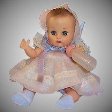 Vogue 1957 Ginnette Doll Baby Dress, Coat, 2 Bonnets  2 Diapers, Sleeper, Socks, Shoes, Bottle, Blanket