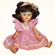 1950's Virga Walker Doll Playmate Series, Pinafore Dress, & Stand