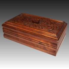 Ornately Carved Large Wooden Letter or Dresser Box