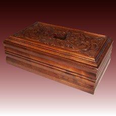 Ornately Carved Large Wooden Letter or Dresser Box
