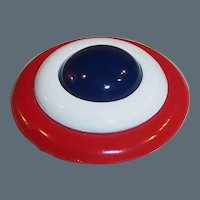 """2"""" Large Red, White, & Blue Vintage Brooch / Pin"""