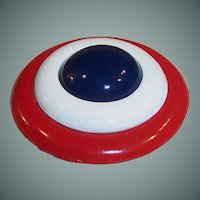 "2"" Large Red, White, & Blue Vintage Brooch / Pin"