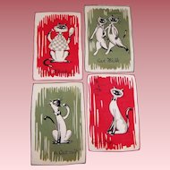 Set of 4: Mid-Century Cats Cocktail Napkins