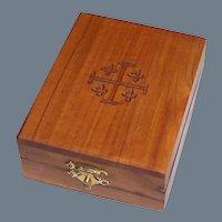 Vintage Wooden Jerusalem Cross Jewelry Box