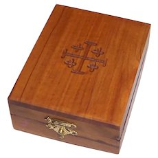 Vintage Wooden Jerusalem Cross Jewelry Box