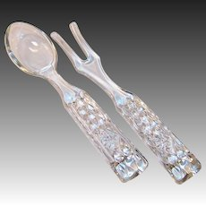 Wexford Salad Servers Glass Fork Spoon