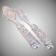 Wexford Salad Servers Glass Fork Spoon