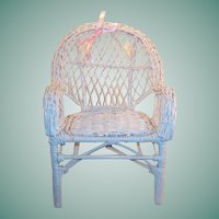 Vintage White Wicker Doll (or Teddy Bear) Chair