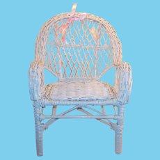 Vintage White Wicker Doll (or Teddy Bear) Chair