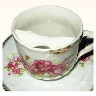 German Mustache Cup and Saucer Porcelain Marked JS V